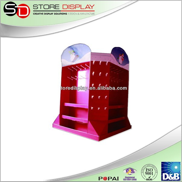 Corrugated cardboard pallet display with hook for supermarket or retail