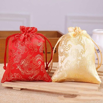 satin gift bags jewelry pouches wedding favor red packaging candy