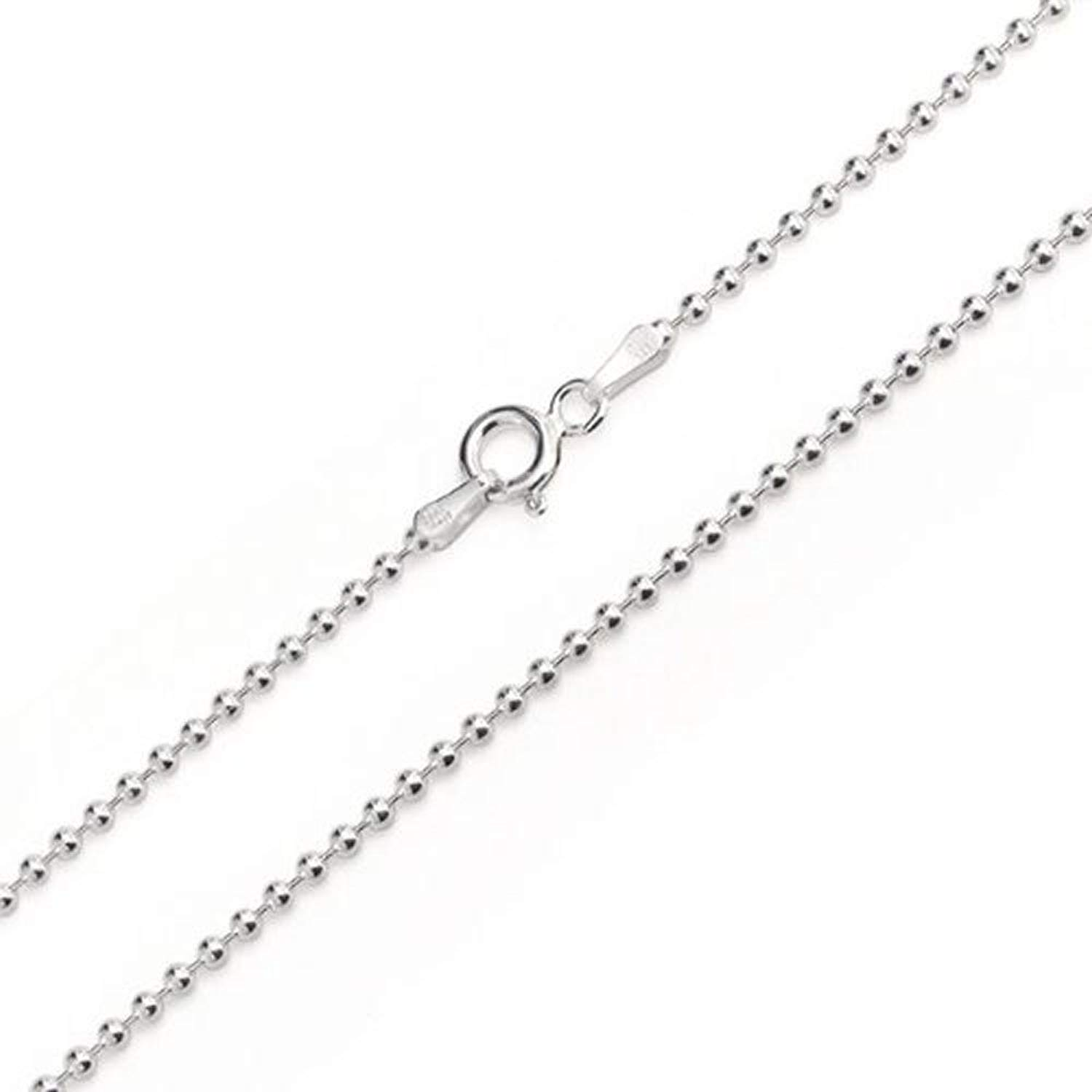 """3.0mm Solid Round Link Ball Beaded Chain Necklace & Bracelet Italian .925 Sterling Silver 7"""", 8"""", 14"""", 16"""", 18"""", 20"""", 22"""", 24"""", 26"""", 30"""", 36"""" inches - 300 Gauge (Nickel Free)"""