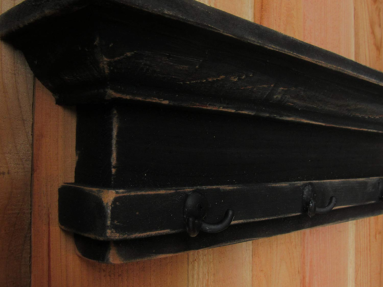 Distressed Floating Black Mantle Shelf Key Hook, Handmade Entry Way Coat Hook, Custom colors and sizes