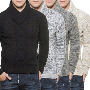 OEM Wholesale Men's Wool Knitted Pullover Sweater Shawl Collar Coarse Knit Jumper