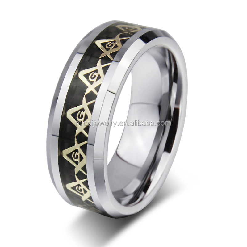 Hot sale men's finger rings stainless steel plated gold masonic rings