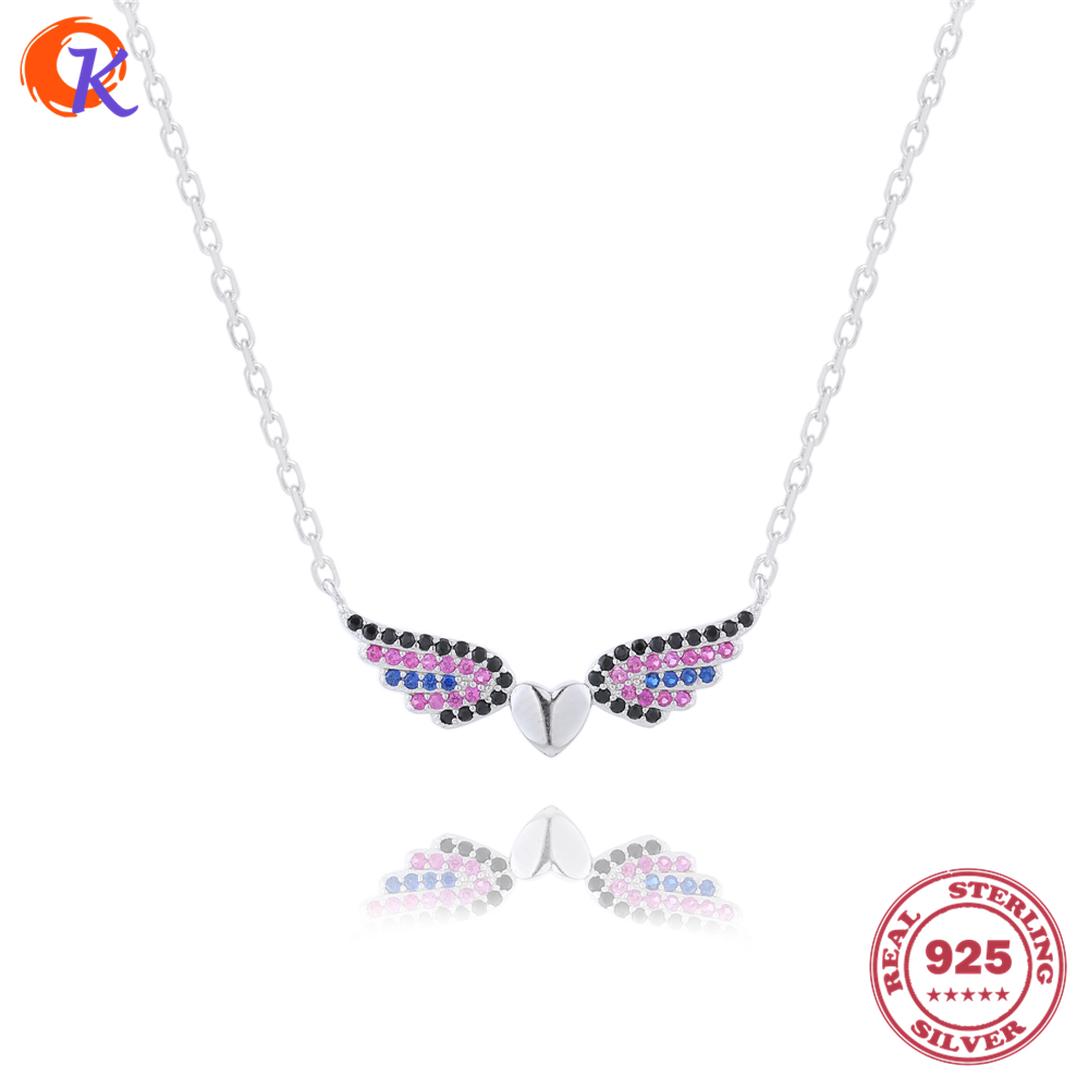 New Arrival 100% 925 Sterling CZ Flying Heart Pendant Necklaces <strong>Jewelry</strong> For Girl Birthday Gift CDSN-0104