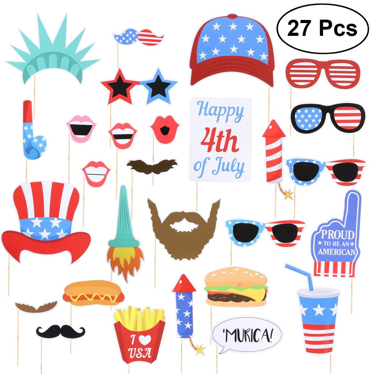 LUOEM Patriotic Photo Booth Props 4th of July Photo Props Independence Day Party Favors Supplies for American Independence Day Party Decorations (27 Pack)
