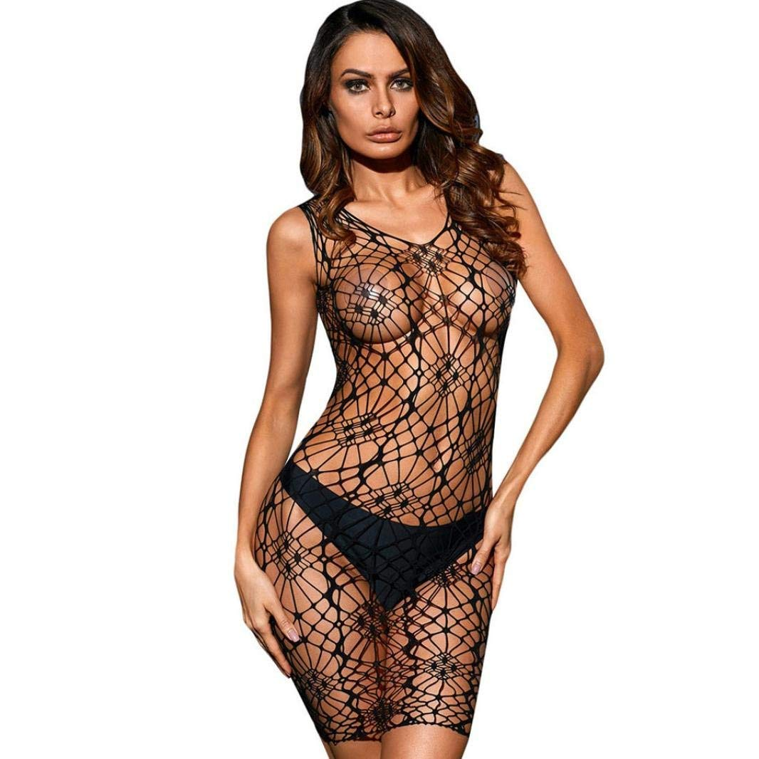 e53cb6a00 Get Quotations · KFSO Womens Sexy Hollow Transparent Mesh Bodycon Underwear  Dress