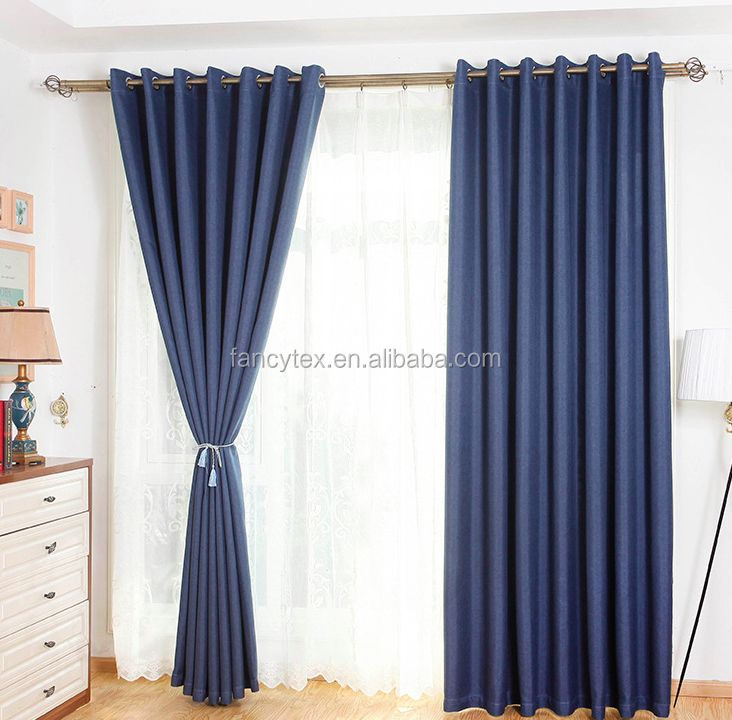 Home decorators Ready style faux plain linen fabric curtain living room window curtain luxury plain soild color curtain