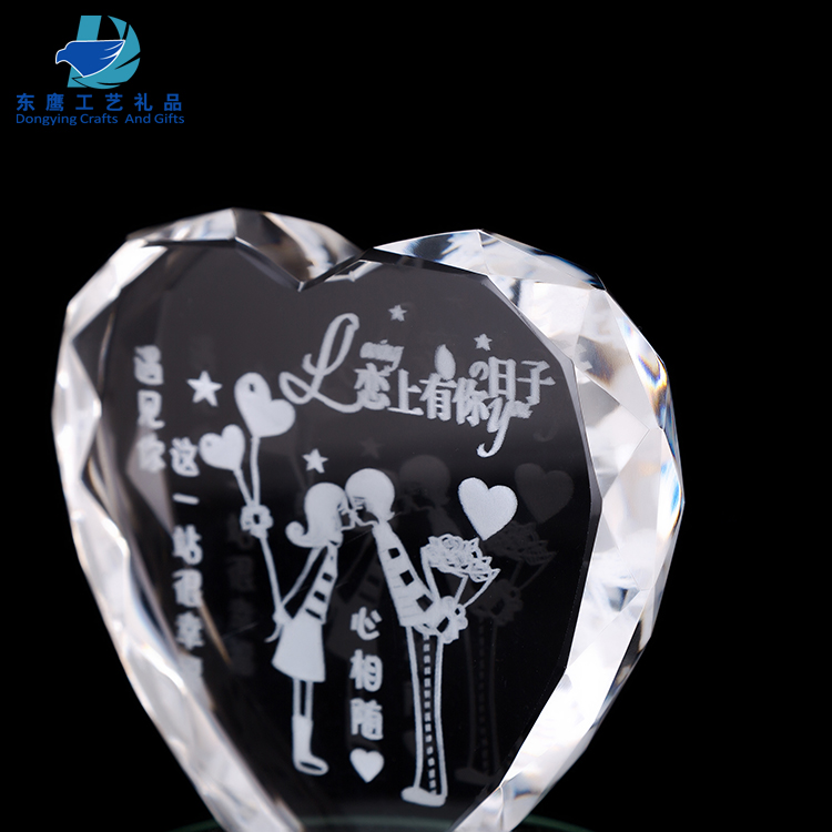 Wholesale Clear Heart Shaped Crystal Award Trophy for Custom Name Engraving