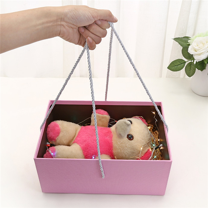 High quality big paper toy and clothing home storage box with rope handle