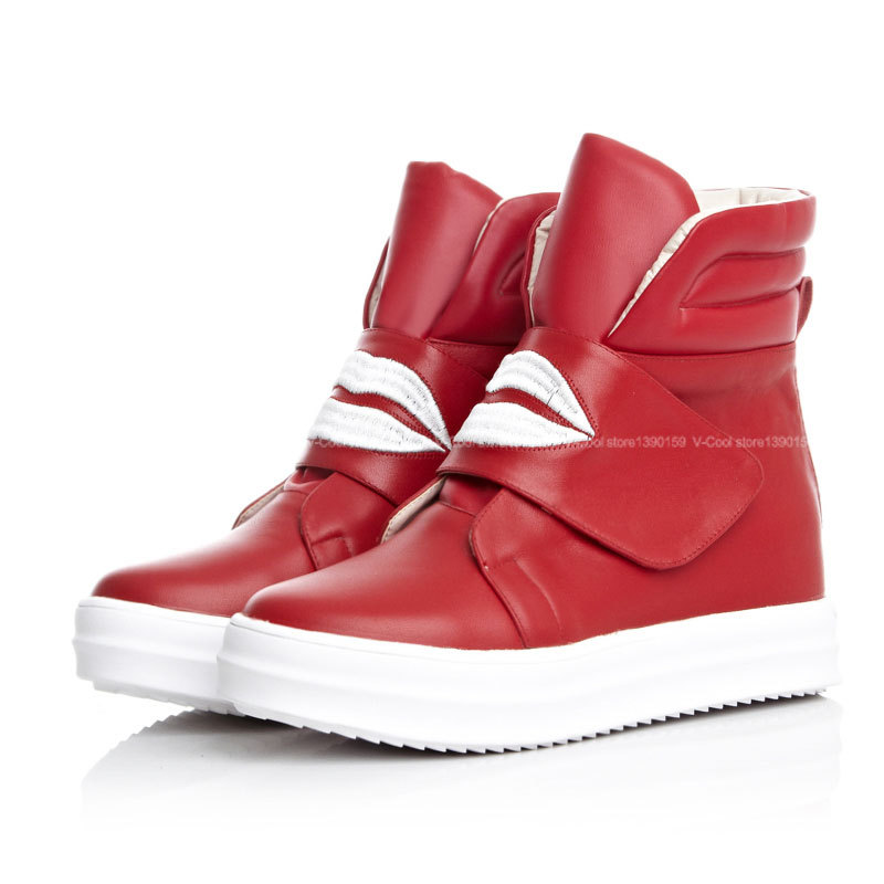 New Arrival 2015 High Top Sneakers Women Hook & Loop Sneakers Fashion Womens Shoes Woman Genuine Leather Footwear Drop Shipping
