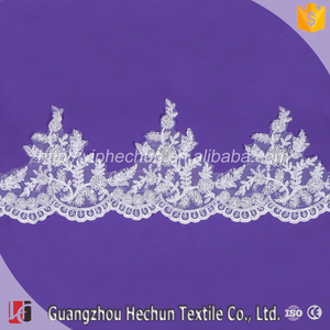 HC-3542 Hechun New work fashion pearl beaded lace trim for bridal