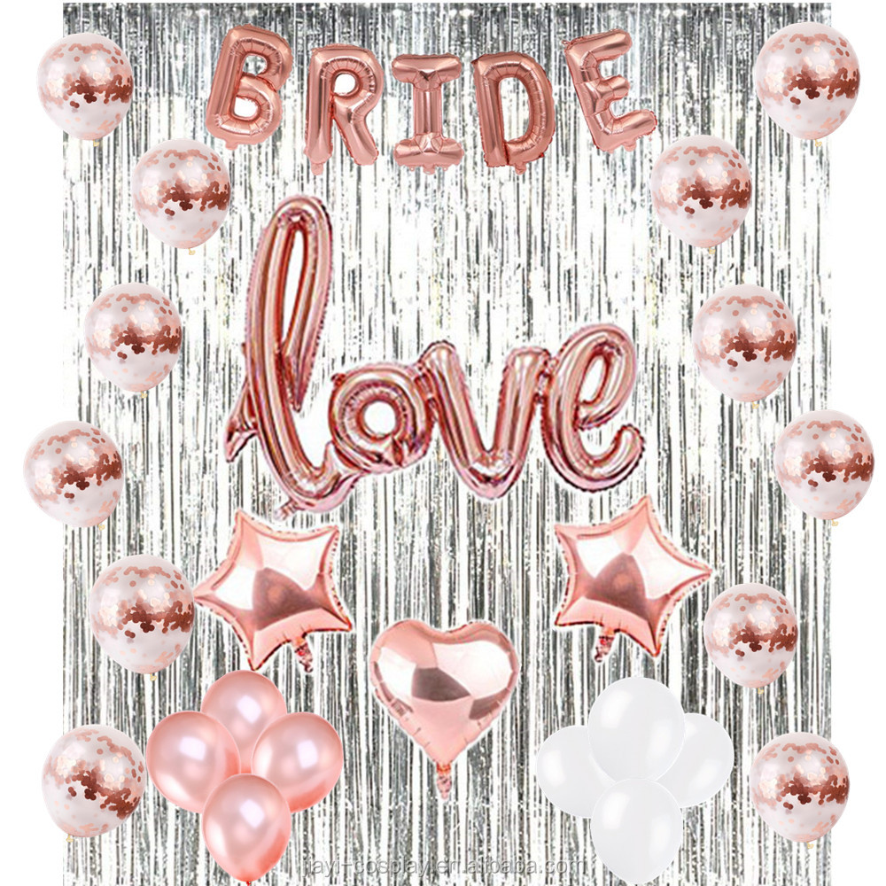 Rose Gold Bachelorette Party Supplies Sliver Foil Fringe Curtain Background Rose Gold Bride Love Foil Balloons Kits