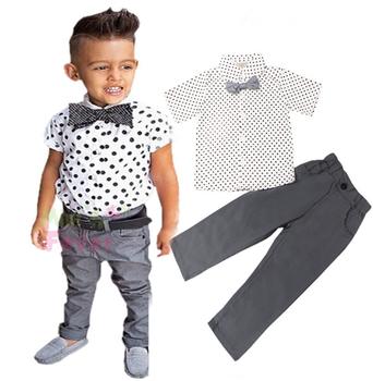 9eab2998d Boys Polka Dots Printed Tuxedo Shirt Bow Tie And Pants 2 Pcs Set ...