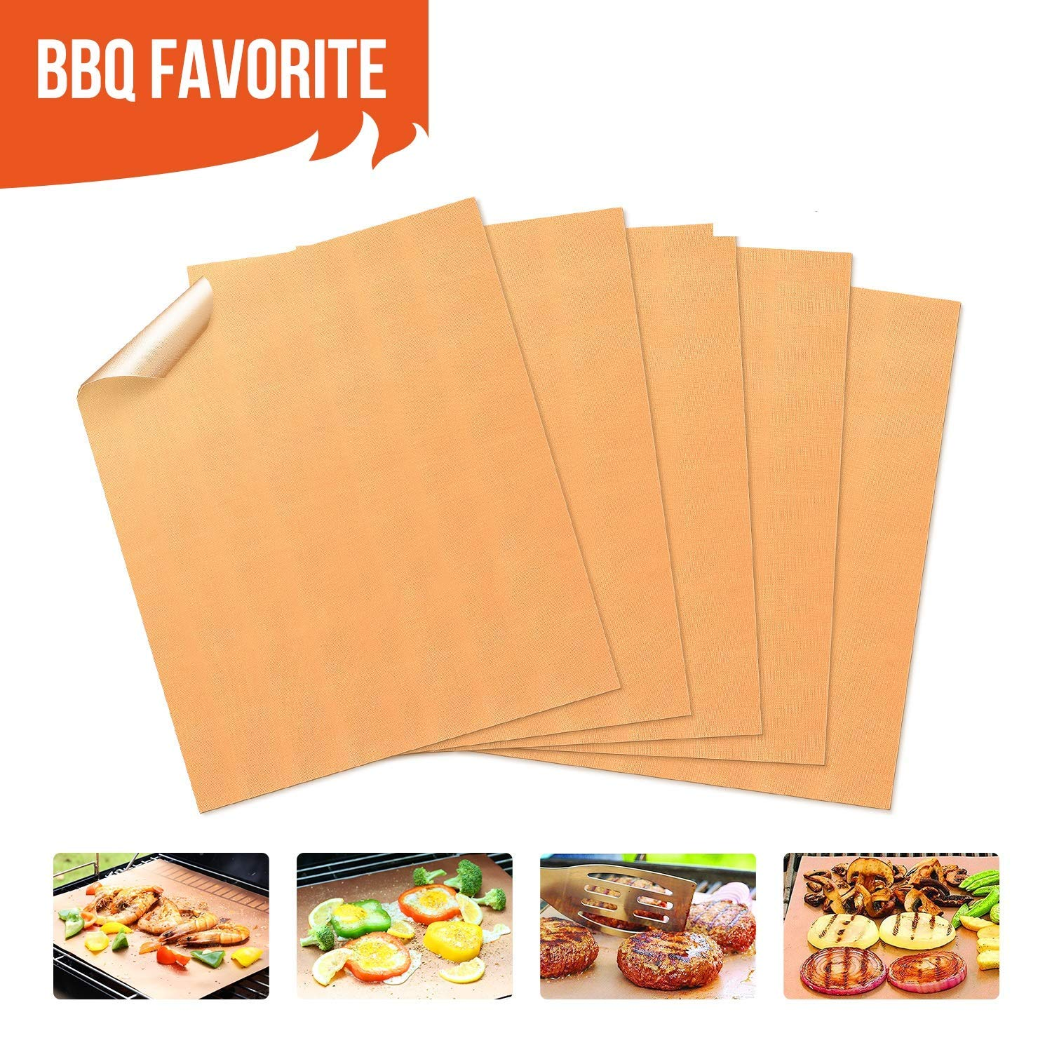 Copper Grill Mats Non Stick BBQ Grill Mat & Bake Mat Set of 5 for Barbecue Grilling & Baking, FDA-Approved, PFOA Free, Heavy Duty, Reusable & Easy to Clean-Suits Gas,Charcoal,Electric Grill and More