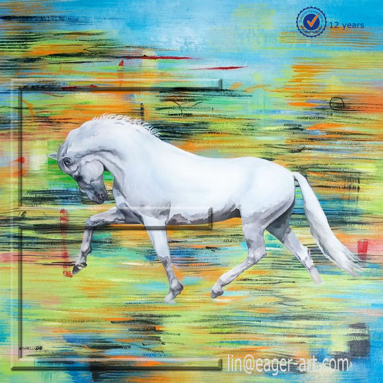Wholesale Modern Handmade Wall Picture Animal Canvas Art Decorative Horse Oil Painting