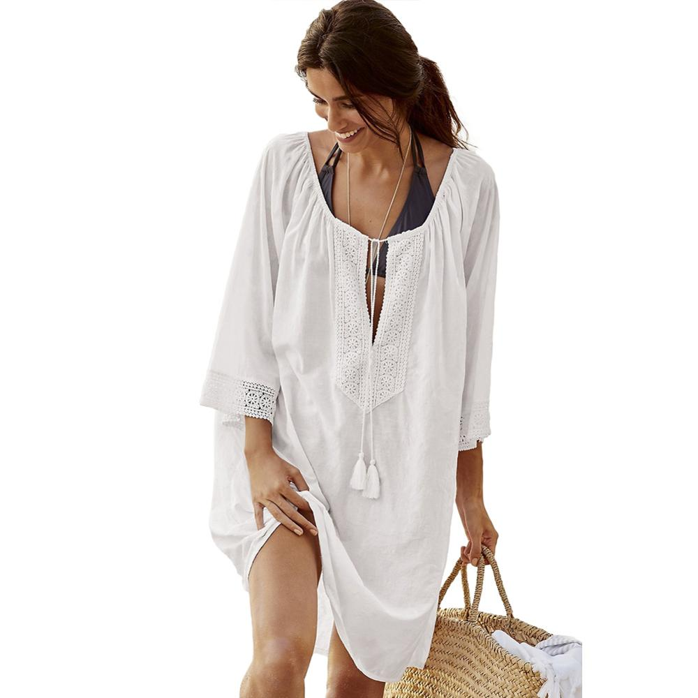Bohemian Lace Tassel Tie Manual Cotton Beachwear фото
