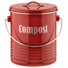Kitchen vintage metal red compost bin storage container