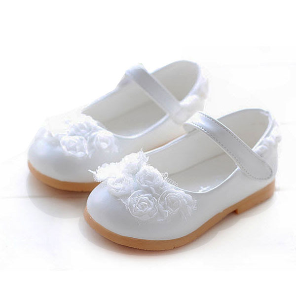 Cute Kids/Children Baby Girls Toddler Sandal Shoes, Pink/White 0-1.5 Years Old Infant Soft Leather Floral Princess Dress Sandals