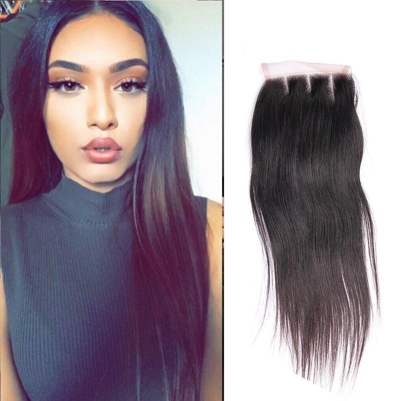 Neue Mode 8a Djs SchÖnheit Malaysische Menschliche Reines Haar Gerade Bundles Mit 4*4 Spitze Schließung Natürliche Farbe Haar Bundles Mit Verschluss Haarsalon Versorgungskette