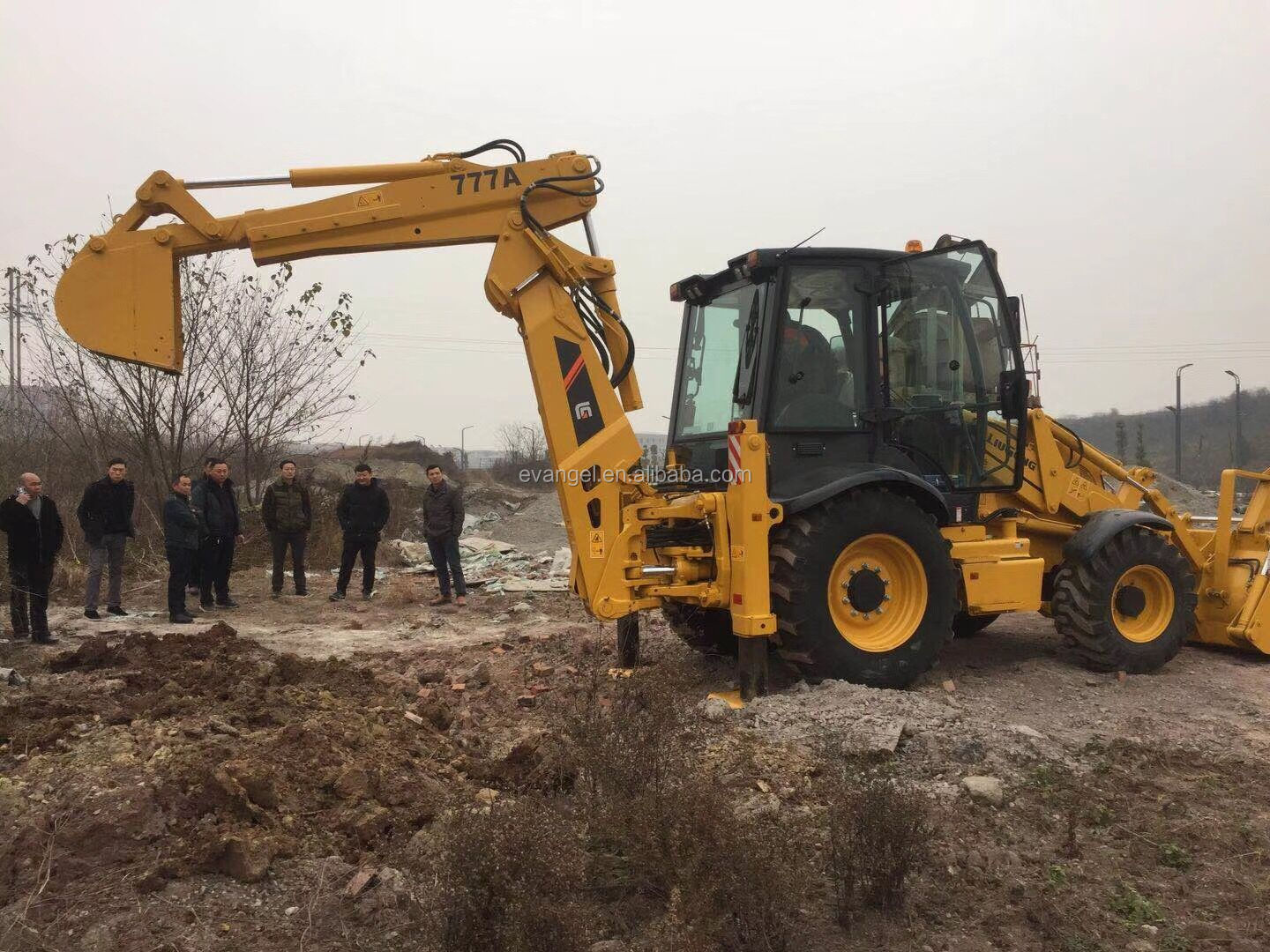 LIUGONG 777A compact backhoe loader with hammer
