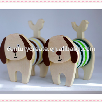 Lovely animal dog mini gifts Wooden craft card memo holder
