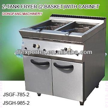 industrial gas fryer, DFGF-785-2 2-tank fryer (2 basket)with cabinet