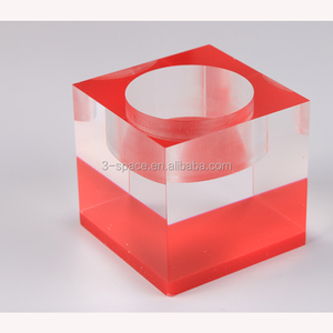 square 4x4 acrylic Stacked Cube Candlesticks holder plastic Ice Cube Crystal Candleholders