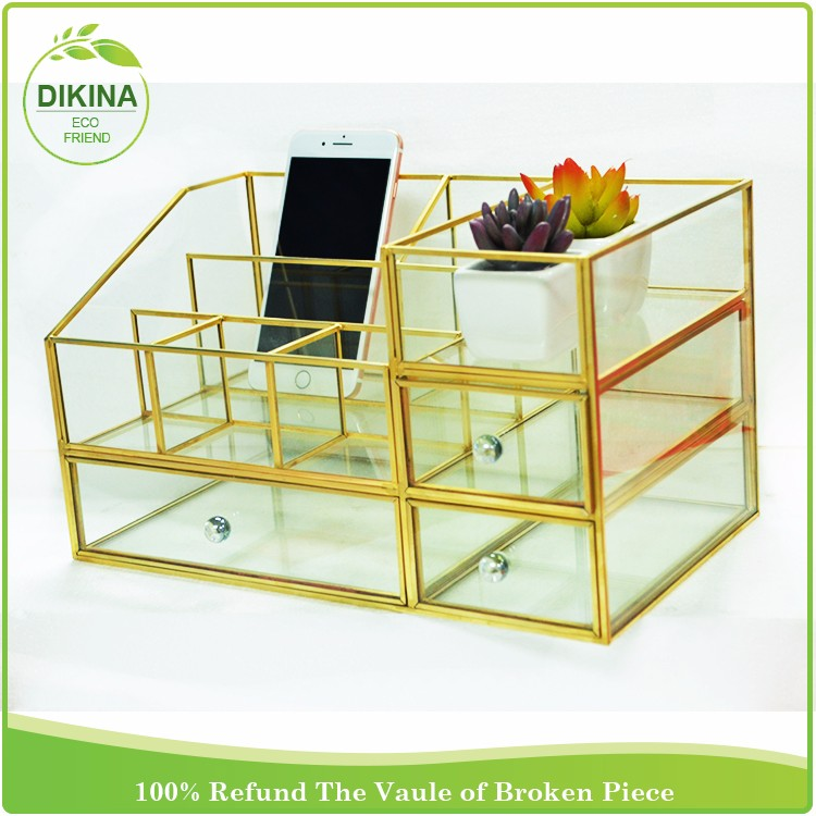 Decorative Display Boxes Delectable Hexagon 8 Sides Brass Glass Keepsake Display Case W Compartment 2018