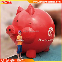 Lovely cheap large giant inflatable pig with red color, high quality inflatable piggy for sale