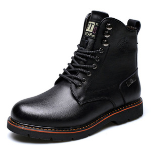 Men's Warm Leather Boots 2018 HighTop Lace-up Military Shoes And Velvet Genuine Leather Martin Boots