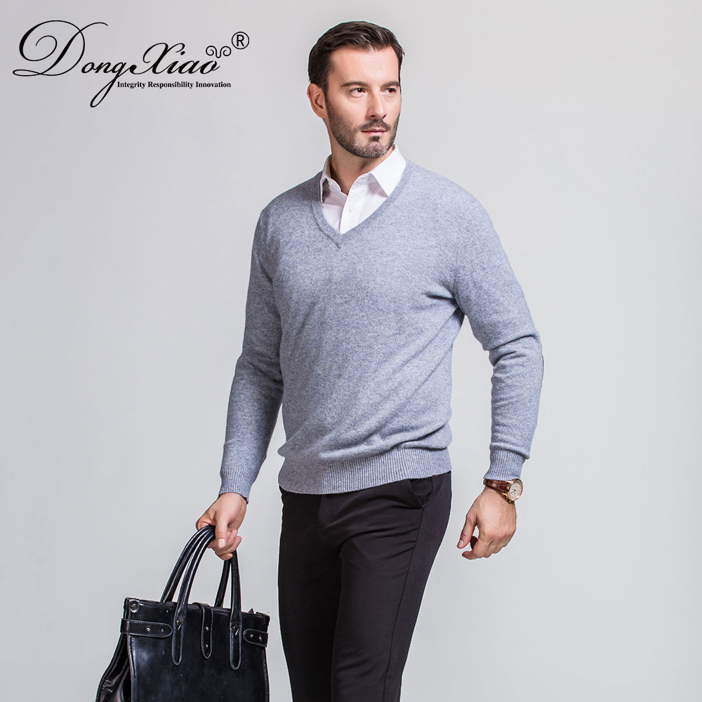 Branded Wholesale V Neck Handmade Knitting Pullover Sweater For Business Men