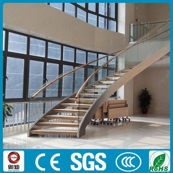 YUDI Indoor Low Cost Curved Steel Wood Staircase Design