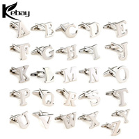 Wholesale cheap high quality 26 alphabet silver 925 letter cufflink
