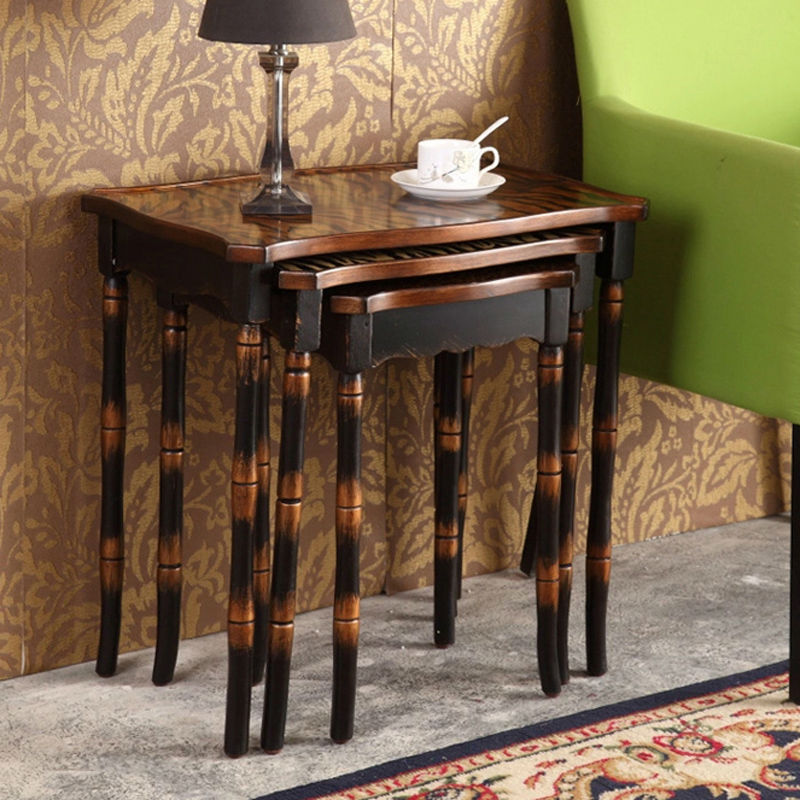 Retro hand painted side table set coffee table antique - Three piece living room table set ...