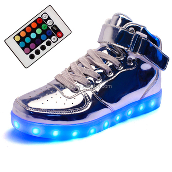 Silver Color Led Shoes With Remote Control Led Light Shoes 7colors ...