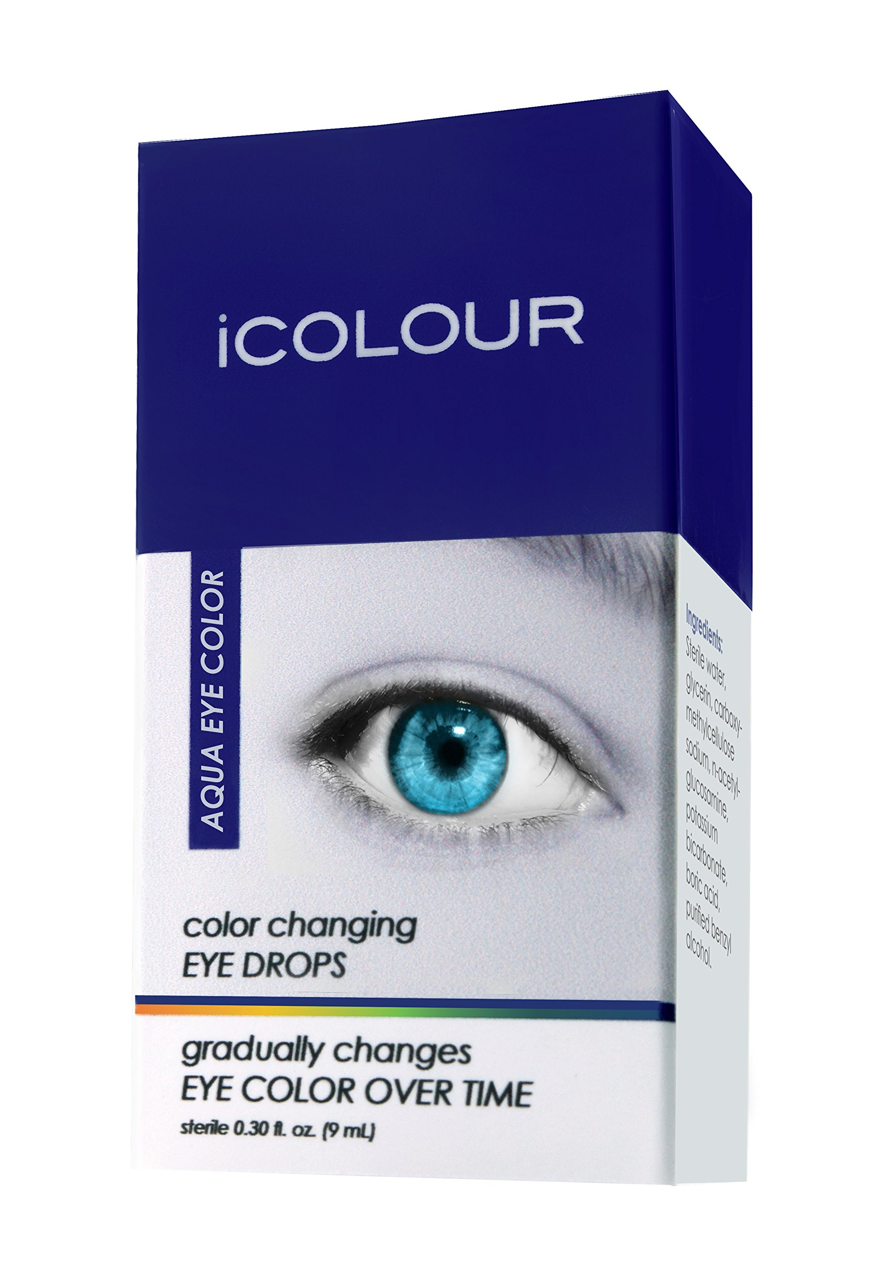 iCOLOUR Color Changing Eye Drops - Change Your Eye Color Naturally - 1 Month Supply - 9 mL (Aqua)