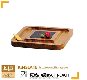 SQUARE ACACIA WOOD SLATE DESSERT SERVING DISH