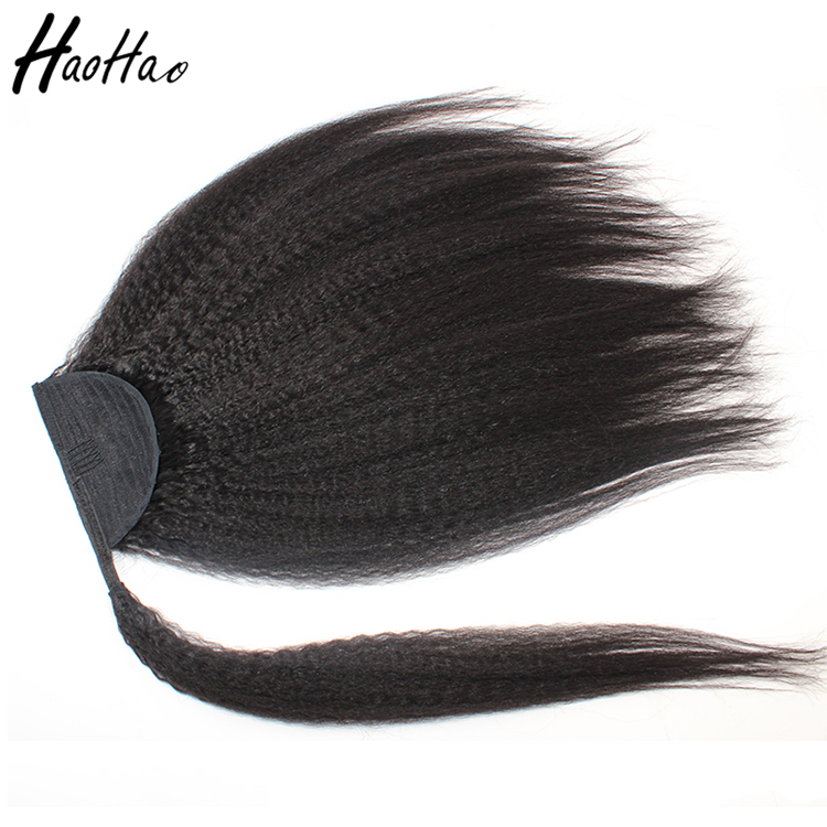 Best quality wholesale real human hair drawstring ponytail ,wrap around human hair ponytail