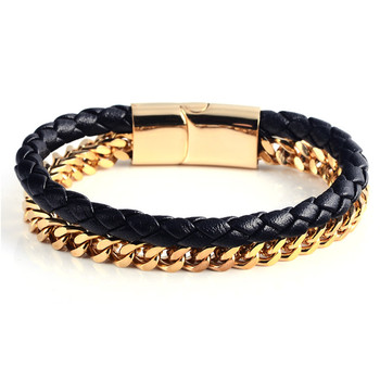 Latest Steel Gold Chains Braid Leather Double Bracelets Saudi Jewelry Bracelet Chunky Chain Braided Product