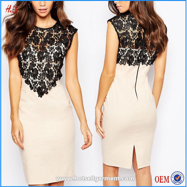 Wholesale Custom Woman Clothes Lace Crochet Office Ladies Formal Midi Dress Fashion Bodycon Dress