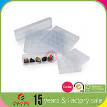 Small empty transparent plastic chocolate packaging box