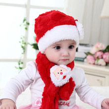Free Shipping Infant Christmas Hat Baby Santa Hat And Scarf Set