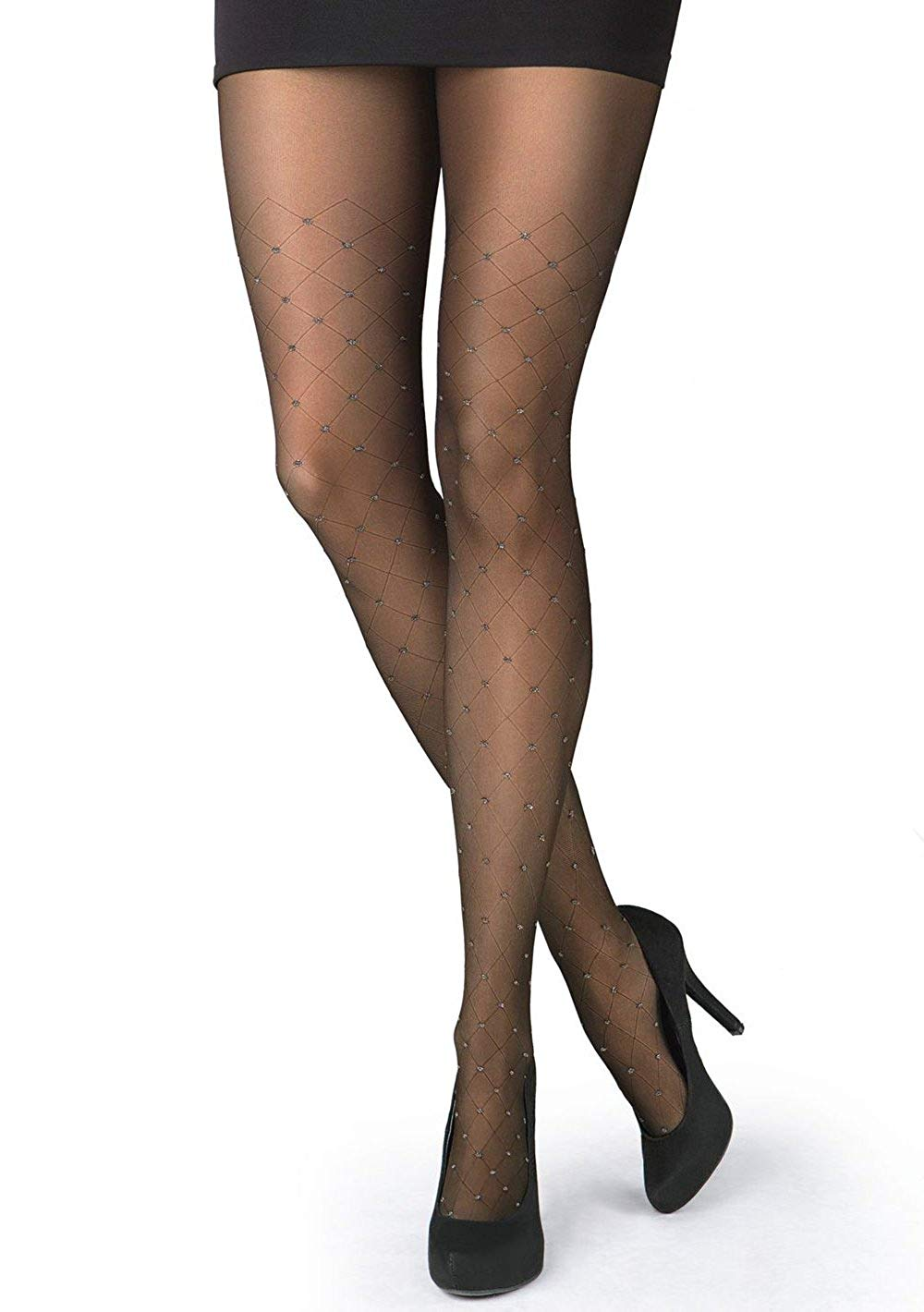 e57ee5ee74438 Get Quotations · Patterned Tights | Sheer Black Patterned Tights with  Sparkle Design | Gatta RONNA 27 [Made