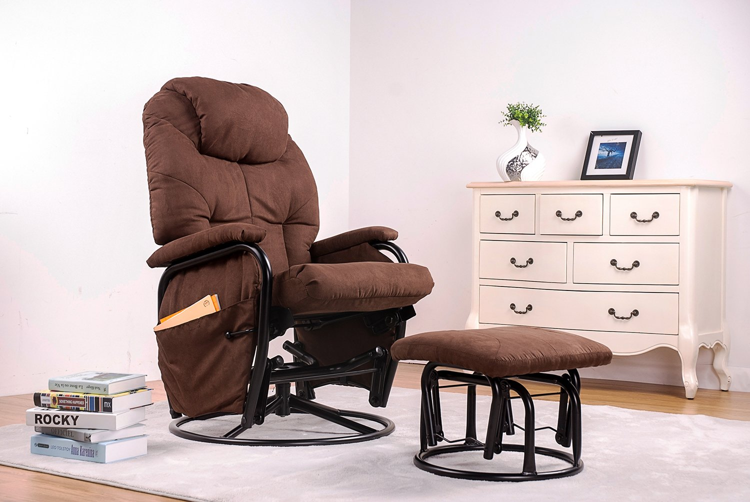 Get Quotations Merax Home Furniture Ergonomic Suede Fabric Swivel Glider Recliner Rocking Chair And Ottoman Set