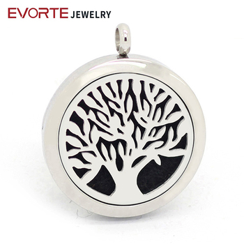 Hot Sale 316L Stianless Steel Tree of Life Essential Oil Diffuser Locket Necklace