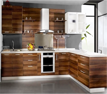 Bomei Manufacturer Modular Acrylic HPL Kitchen Cabinets Plastic Wood Veneer Pantry Cupboard For Home and Commercial