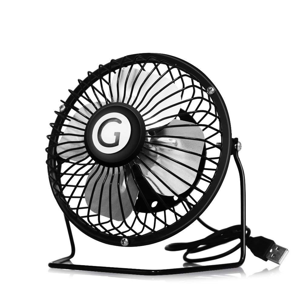 GogoTool Mini USB Fan, Mini Desk Fan Super Quiet 360 ° Adjustable USB Fan Portable Metal Cooling Cooler Fan for Home Office School – Black