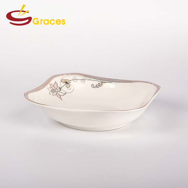 Full golden flower decal ceramic deep dish dinner plate (6u0026quot ... & Buy Cheap China dinner plates deep Products Find China dinner ...