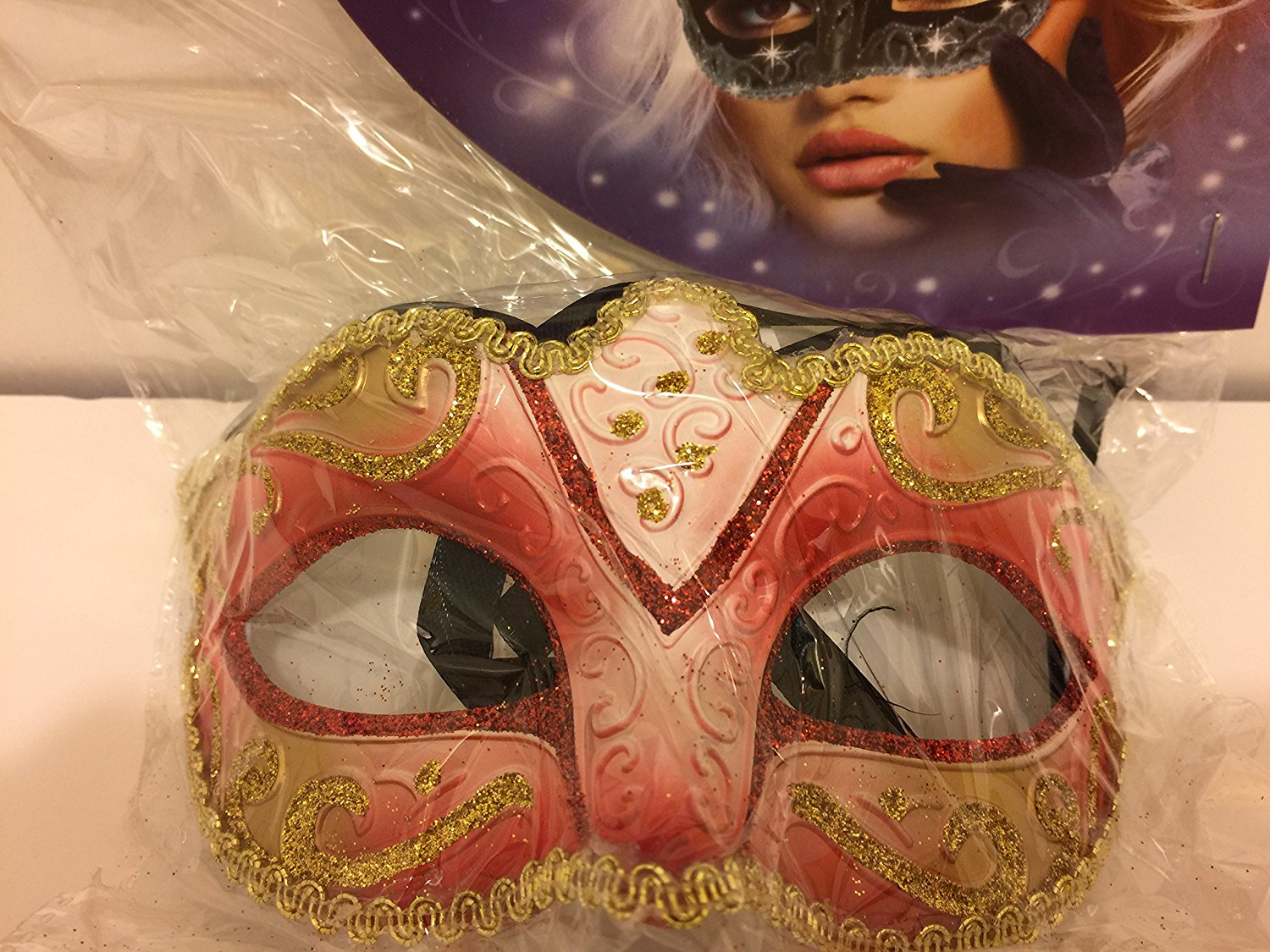 Masquerade Ball Mask Red With Golden Border