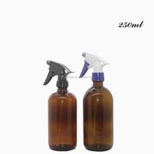 YM 250ml 8oz 500ml 16oz abrown amber trigger sprayer glass shampoo bottle