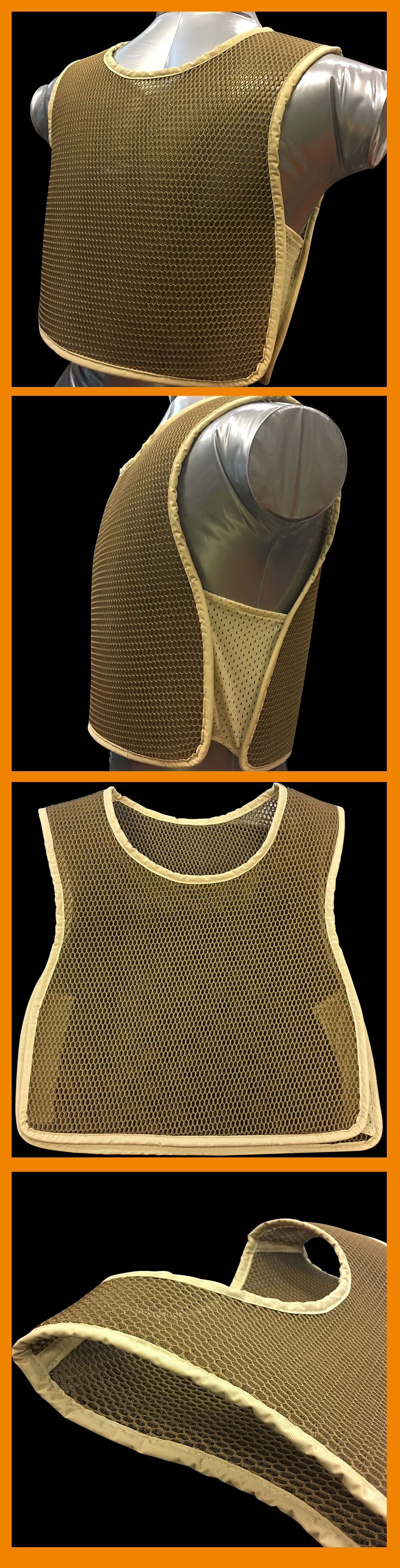 Training durable breathable black 3d mesh spacer fabric military cooling vest
